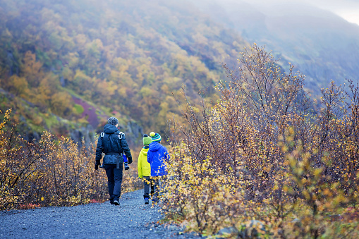 Father with children, walking on a path in beautiful nature of Skaftafell Glacier national park on a gorgeous autumn day in Iceland