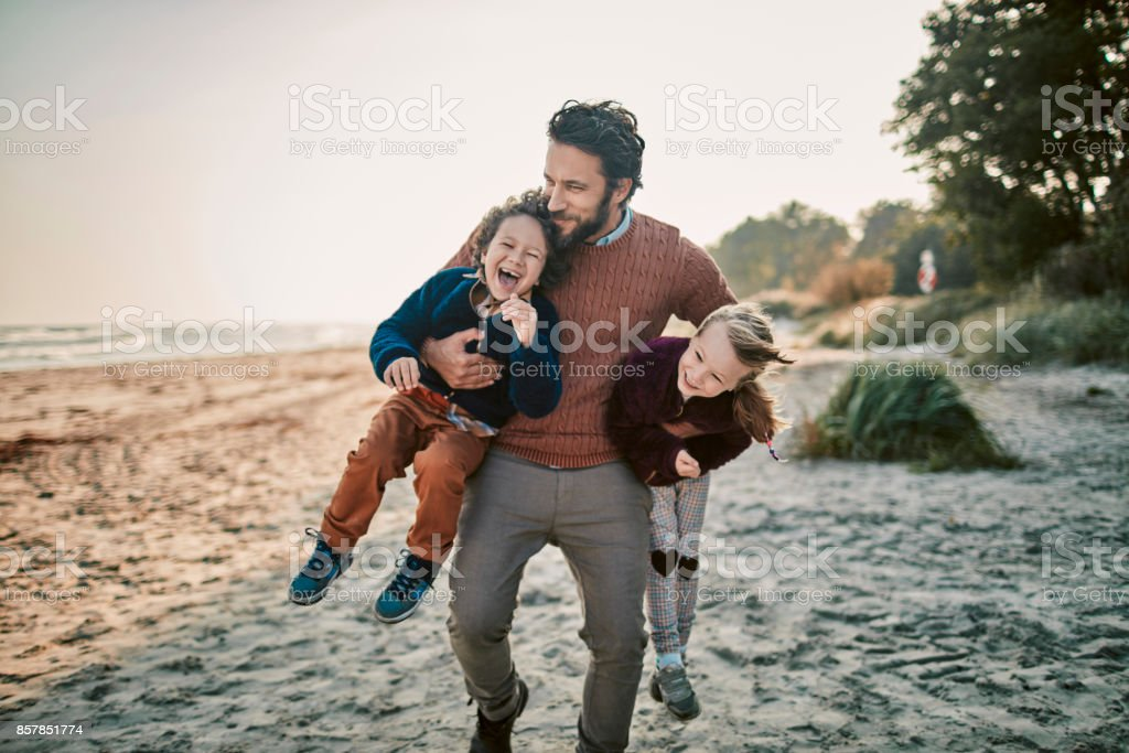 Father with his kids stock photo