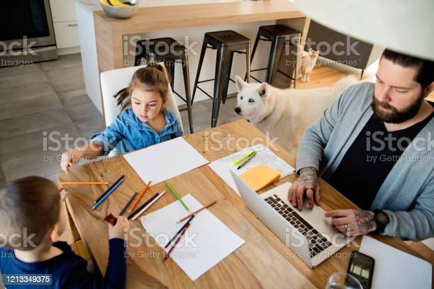 Father working from home with young children in quarantine isolation picture id1213349375?b=1&k=6&m=1213349375&s=612x612&h=dkmd8jgojapbhoresmoxjjczkhrq7ypyk3jfyahj8vq=