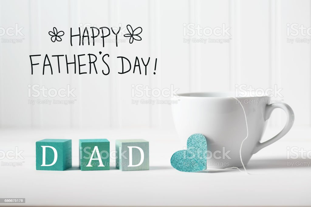 Father's Day message with coffee cup stock photo