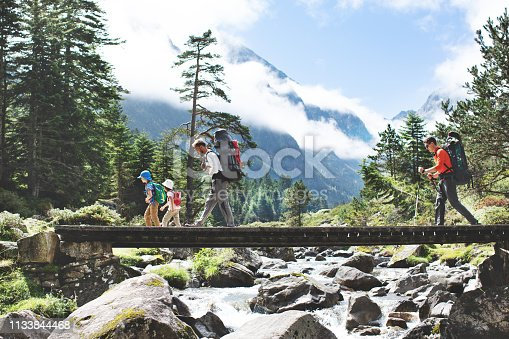 Fathers and children hiking together in mountains