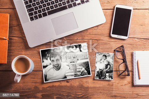 istock Fathers day composition. Black-and-white photo. Office desk. 532114760