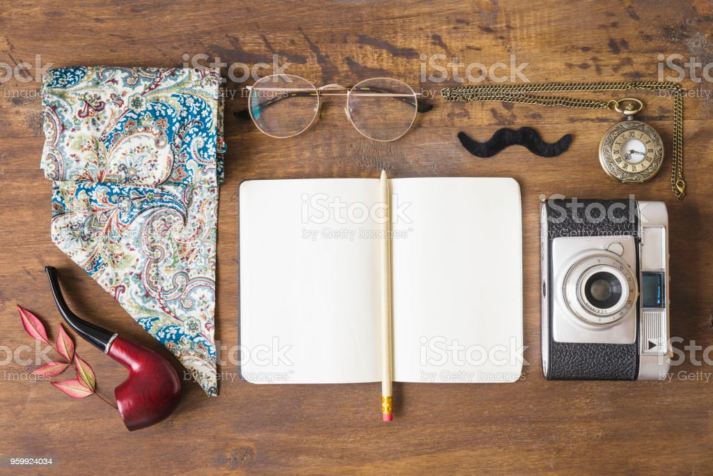 Fathers day composition with accessories stock photo