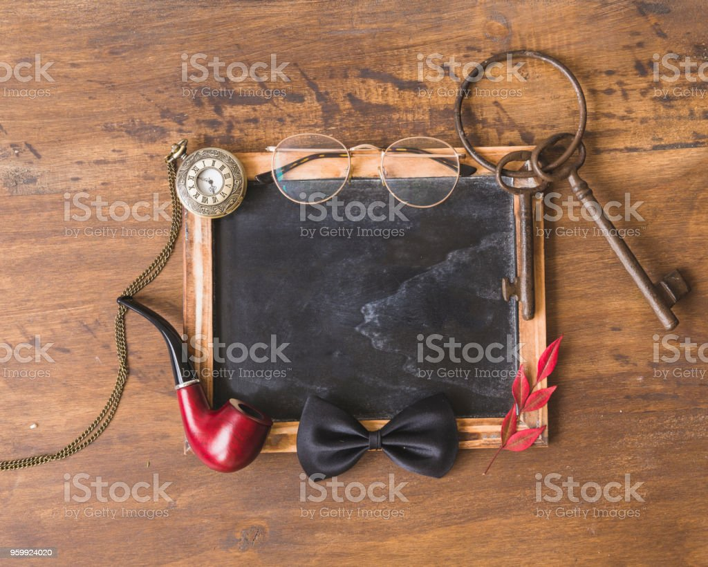 Fathers day composition with slate and elements stock photo