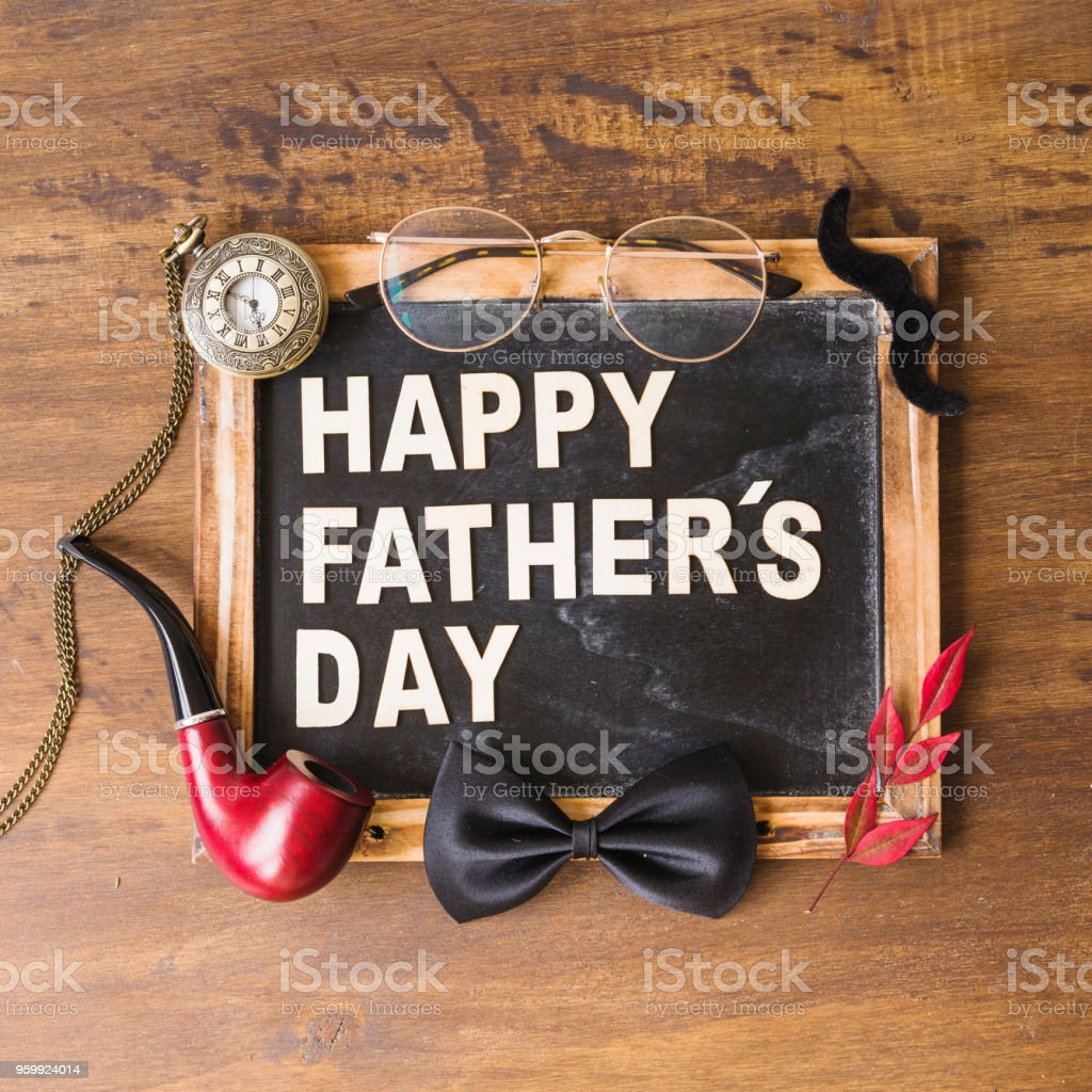 Fathers day composition with slate stock photo