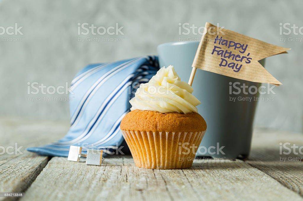 Conceito de Dia dos Pais-cupcake, gravata, presente - foto de acervo