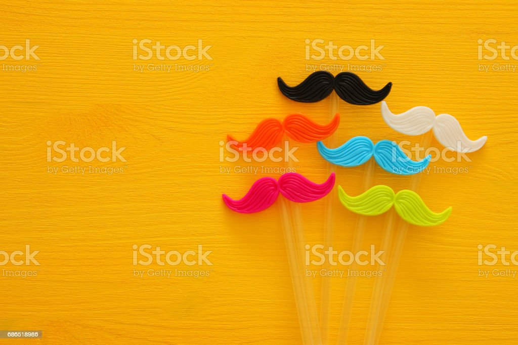 Father's day concept. Hipster colorful and funny moustache zbiór zdjęć royalty-free