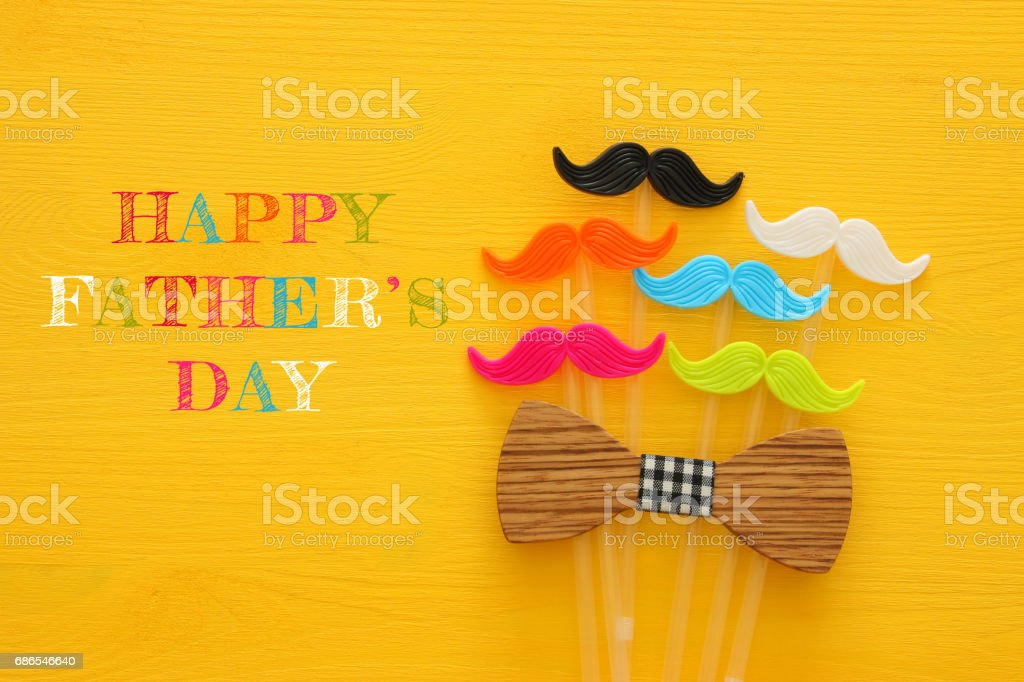 Father's day concept. Hipster colorful and funny moustache foto stock royalty-free
