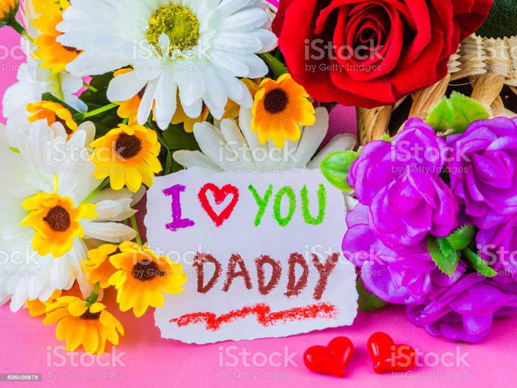 Fathers Day Concept I Love You Daddy Message With White And Yellow