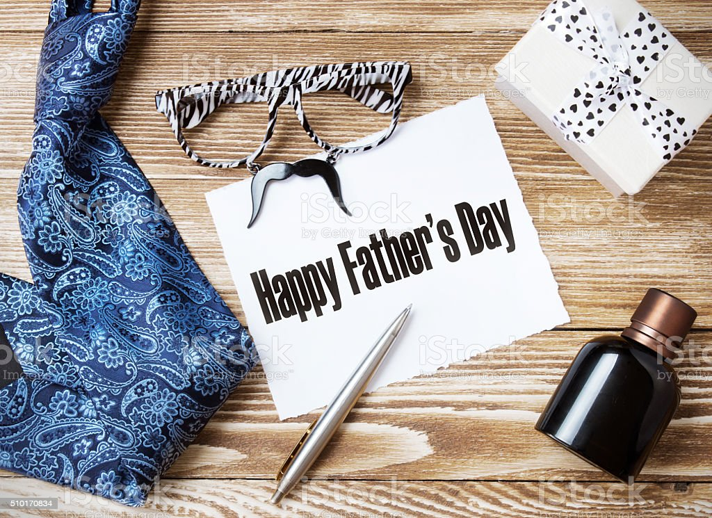 Father's day concept objects messege nobody. stock photo