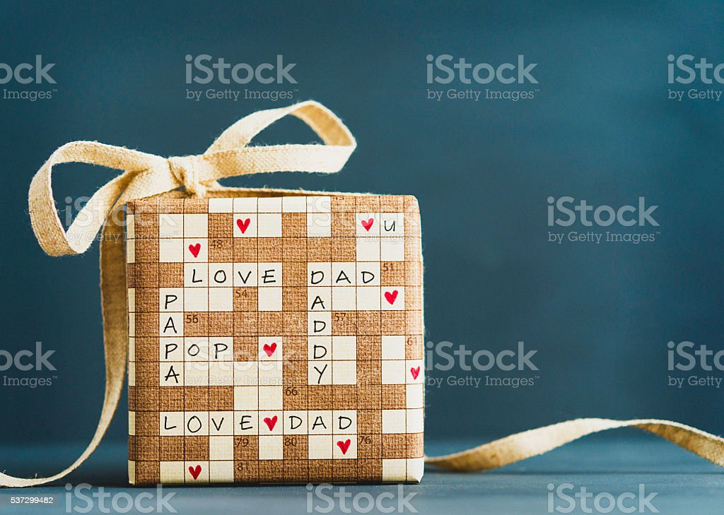 Father's Day gift with crossword puzzle message stock photo