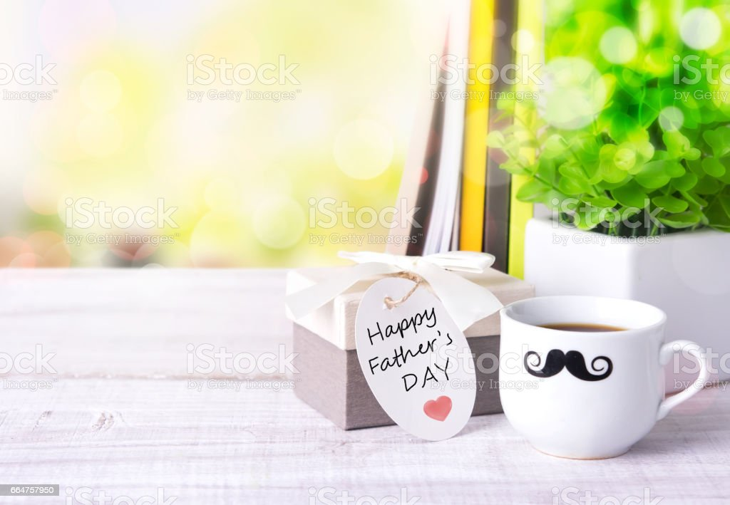 Fathers day holiday card greeting concept. stock photo