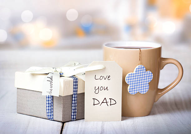 father's day holiday morning coffee greeting crad background. - fathers day stock photos and pictures