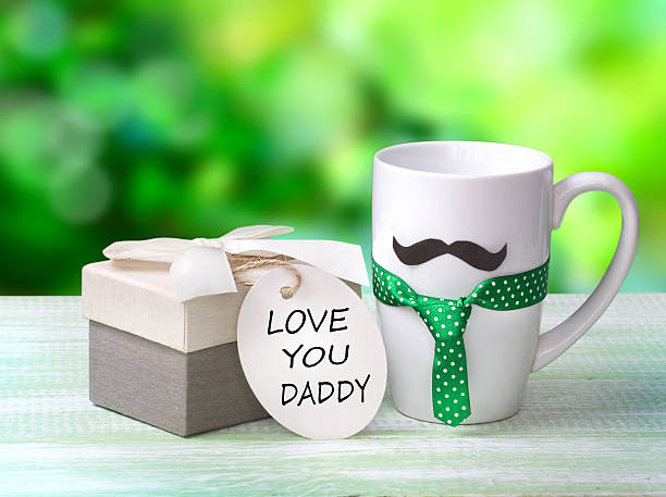 Fathers day icon.Morning coffee greeting card. stock photo