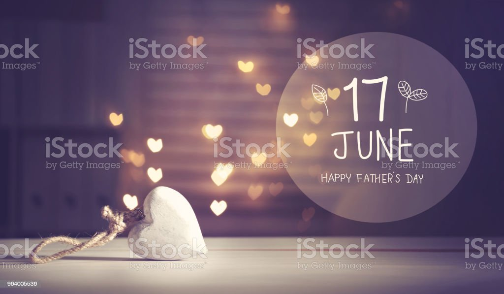 Father's Day message with a white heart - Royalty-free 17th Century Stock Photo