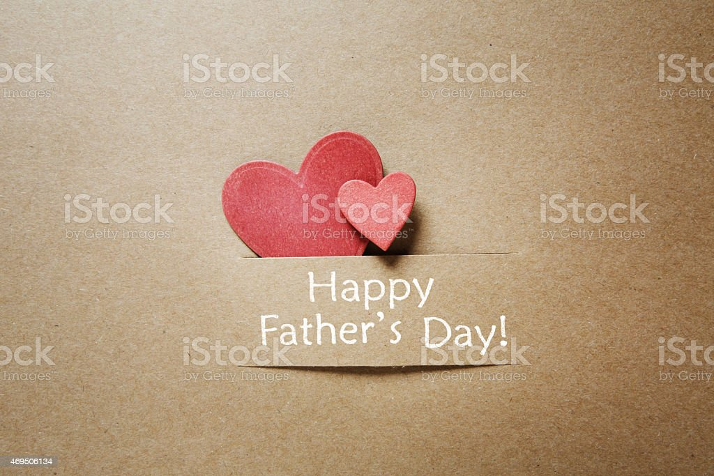 Fathers day message with red hearts stock photo
