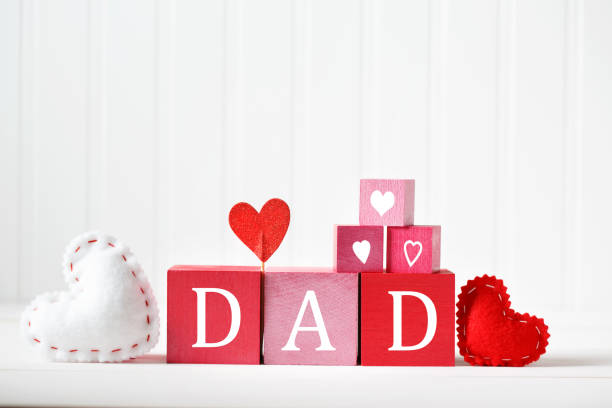 Fathers Day message with wooden blocks stock photo