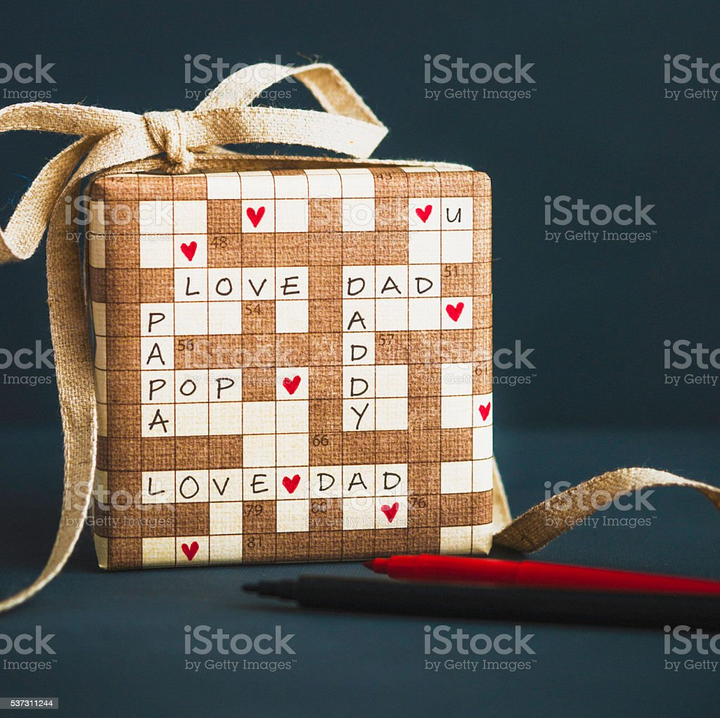 Father's Day or birthday gift with crossword puzzle message stock photo
