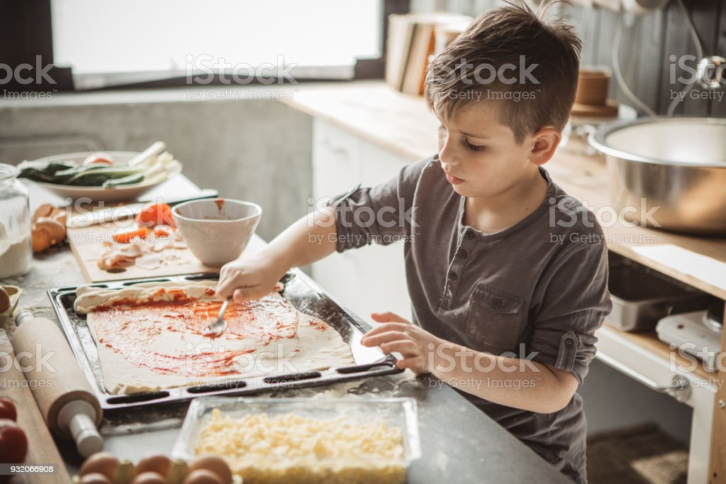 Father's little bakers stock photo