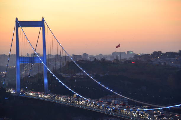 Fatih Sultan Mehmet Bridge with Heavy Traffic  at Sunset, İstanbul stock photo