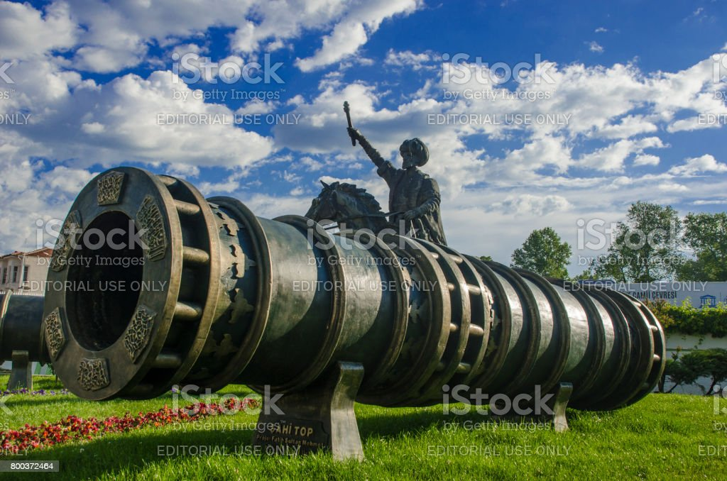 Fatih Sultan Mehmet memorial and Huge siege cannon used in the final assault and fall of Constantinople in 1453 (Sahi Gun) stock photo