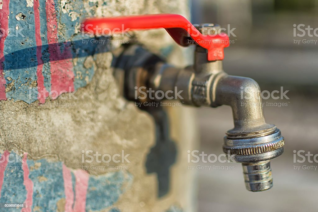 Faucet On Old Cracked Blue Wall Red Handle Water Tap Stock Photo ...