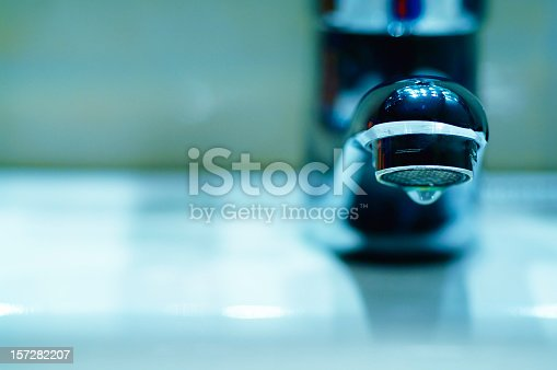 Detaill of a modern faucet head.