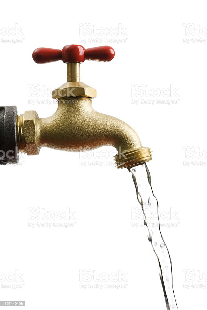 Faucet Pipe with Running Flowing Water Isolated on White Background stock photo