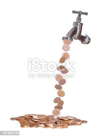 Faucet Were European Currency Drops Out Stock Photo More Pictures