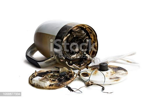 1015604978 istock photo Faulty automatic electric kettle caught fire 1058877334