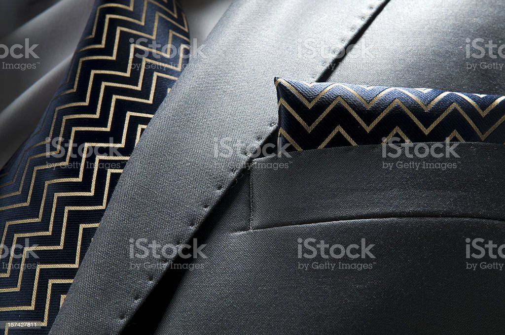 Faux black leather jacket breast with tie and handkerchief royalty-free stock photo