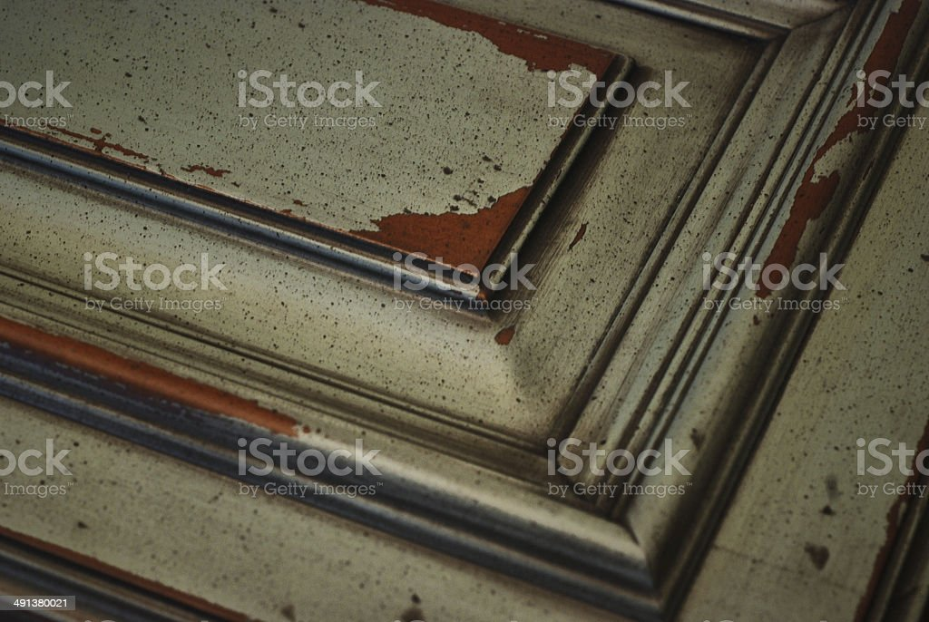 Faux Finish on Cabinet Door stock photo