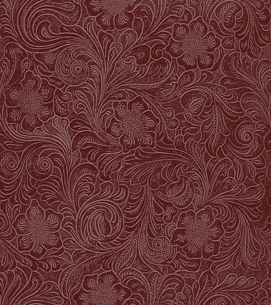 faux leather floral pattern - art nouveau stock photos and pictures