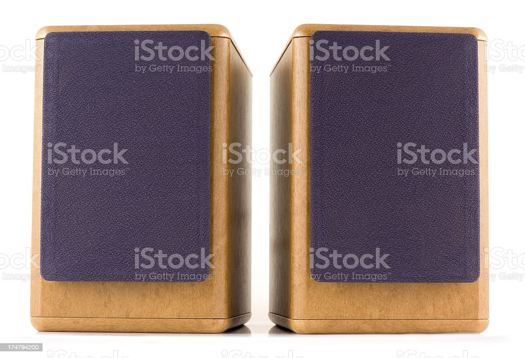 Faux wood speakers isolated on a white background royalty-free stock photo