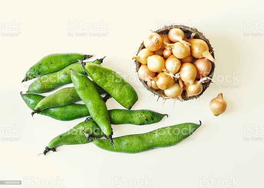 Fava beans & pearl onions royalty-free stock photo