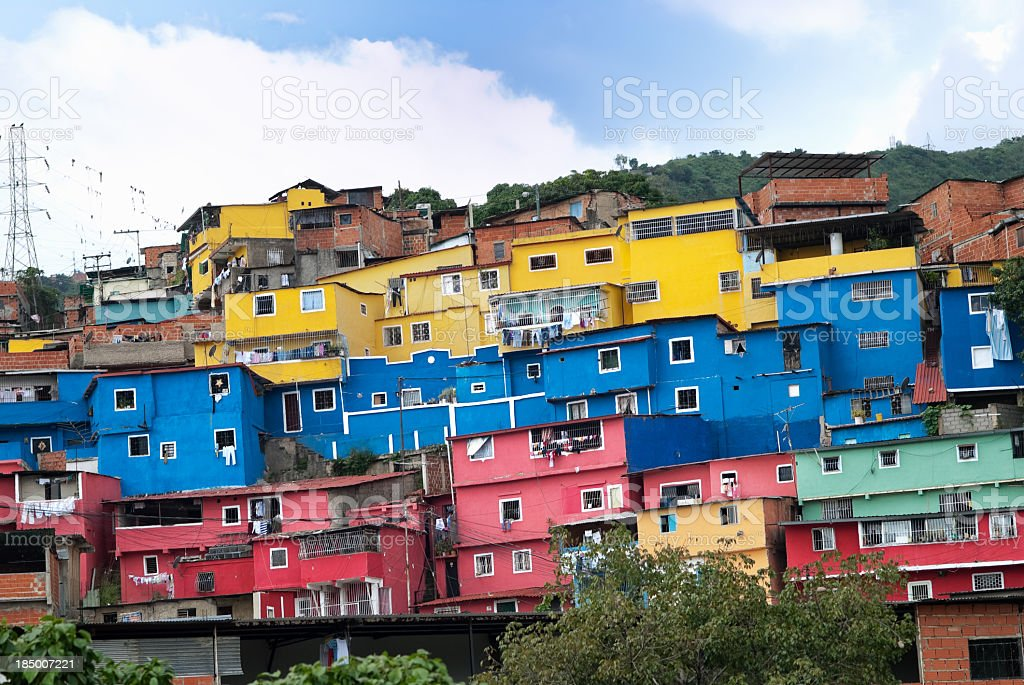 Favela suburb of Caracas city stock photo