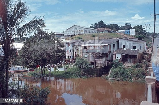 Amazonia, Brazil, 1975. Favelas in the Amazon region. Also: residents and buildings.