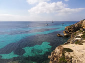 Favignana panorama with blue and turquoise sea at Bue Marino