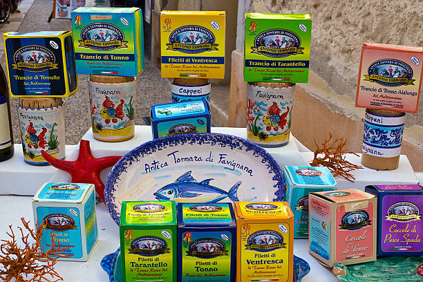 Favignana, typical tuna products for sale on market stall. stock photo