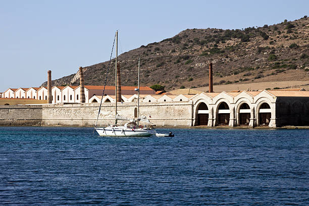 Favignana,old factory for tuna fishing, view from the port stock photo