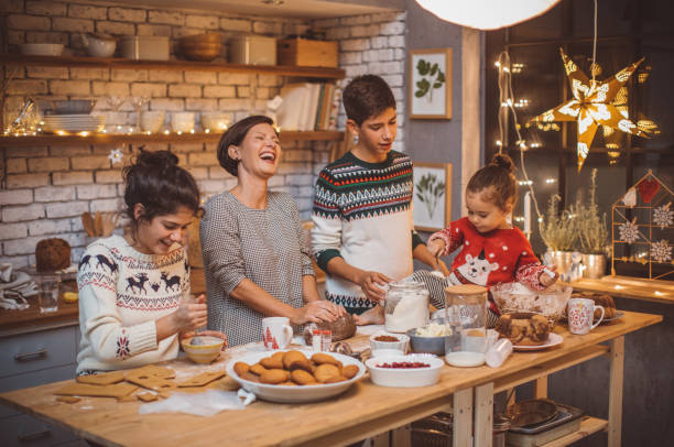 favorite family tradition - kids cooking stock photos and pictures