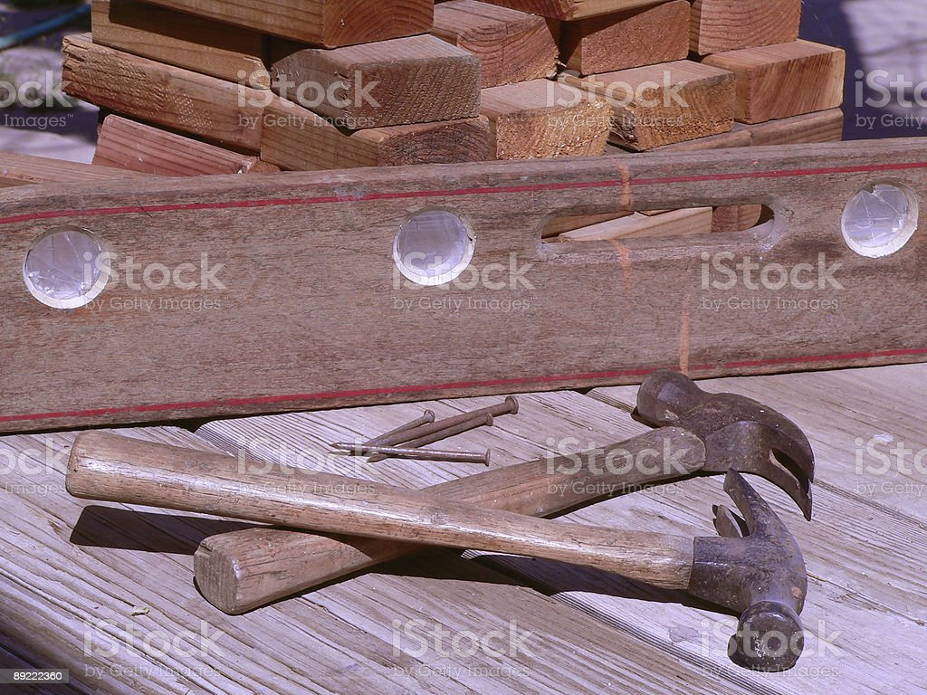 Favorite old carpentry tools royalty-free stock photo