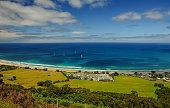 A favorite surfing spot on the Australian Pacific coast in Apollo Bay.