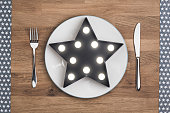 favourite foods star concept on white plate