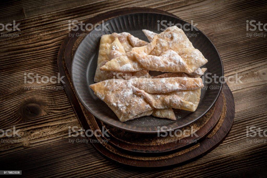 Faworki - traditional Polish crispy dessert. stock photo