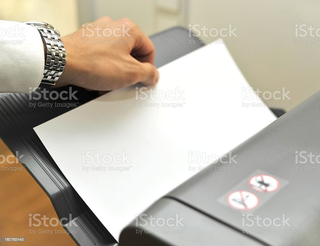 fax and printer in office with hand stock photo
