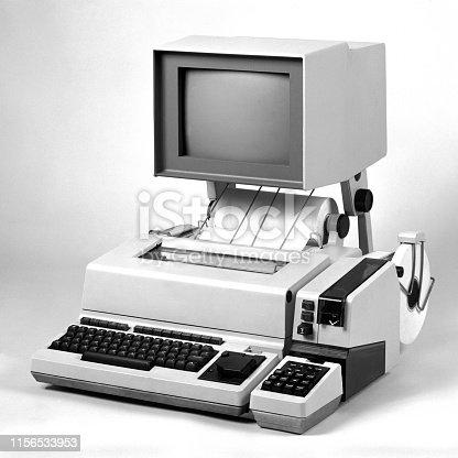 Studio shot of old style technology machine of communication