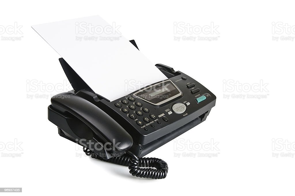 Fax machine with document royalty-free stock photo
