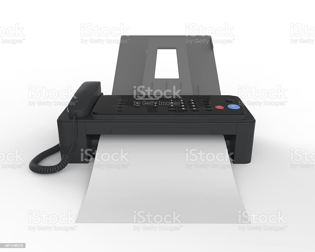Fax Machine with Paper stock photo