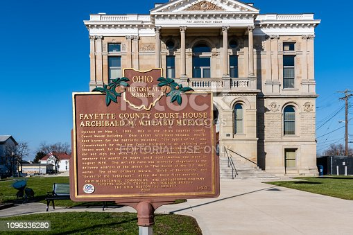 1024248138istockphoto Fayette County Courthouse historical marker 1096336280